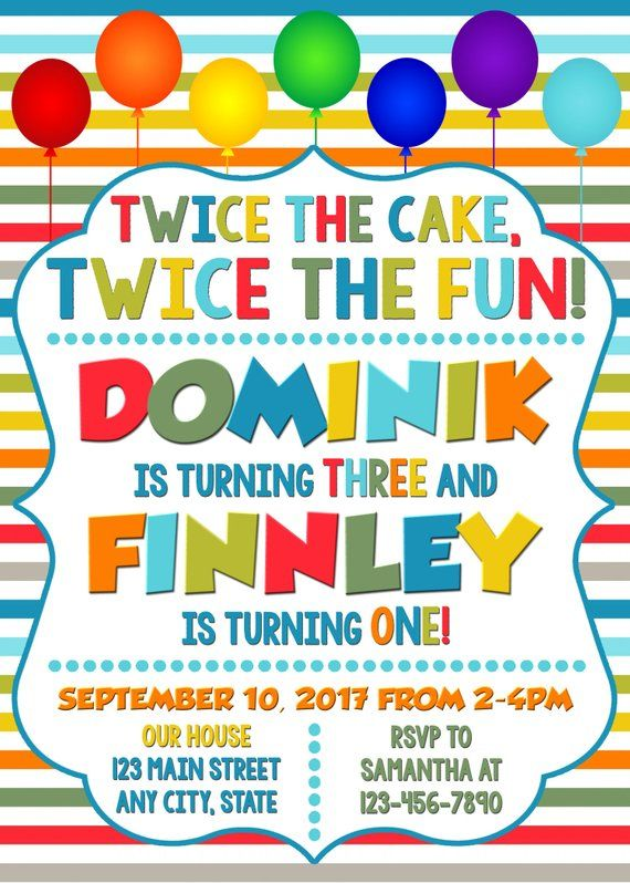 joint combined birthday party invitation twins birthday invitation