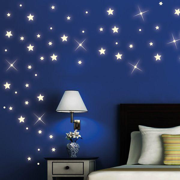Elegant Wandtattoo Sterne St ck leuchten fluoreszierend