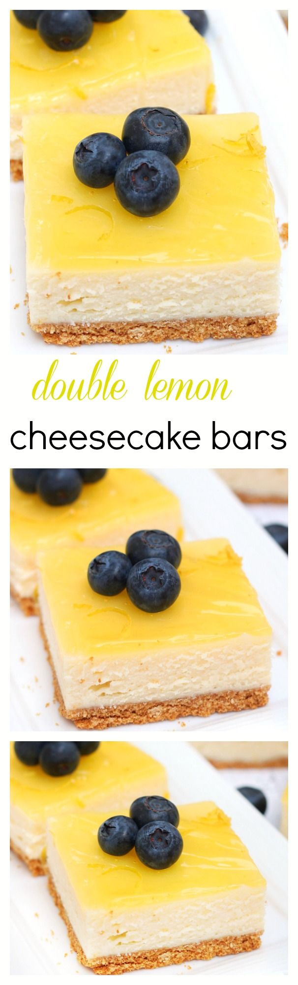 Smooth, creamy and full of citrus flavor, these lemon cheesecake bars are topped with a thin layer of lemon glaze and prepared on a simple graham cracker crust