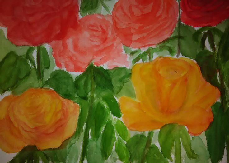 záhon ruží akvarel