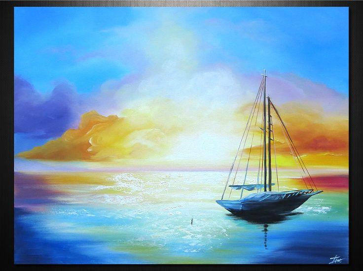 Vitorlás 100% kézzel festett vászonkép Dekor festmény cikkszám: 6283 www.ovardesign.hu