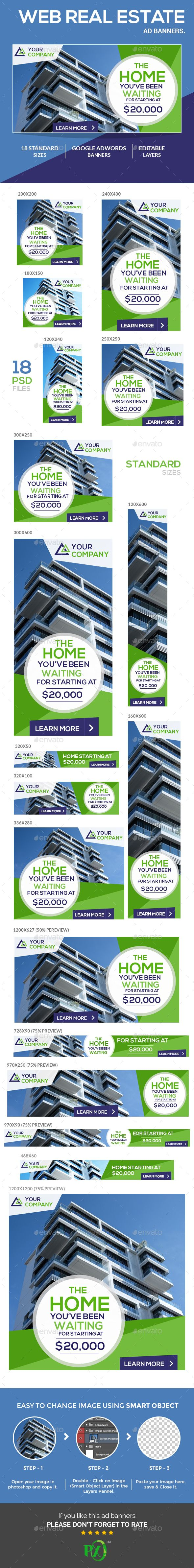Web Real Estate Ad Banners Template PSD. Download here: http://graphicriver.net/item/web-real-estate-ad-banners/16440338?ref=ksioks