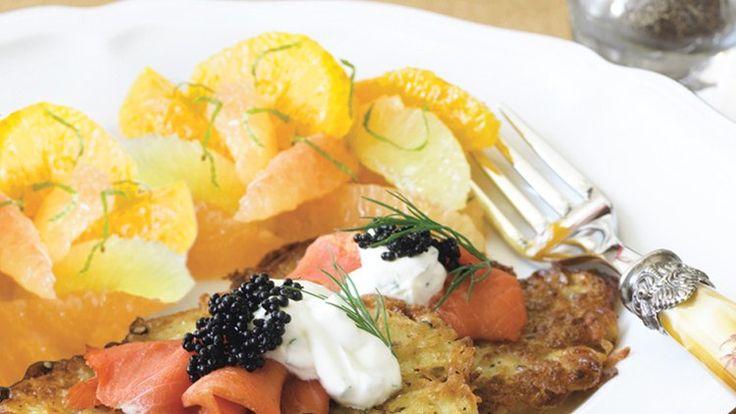 Potato Latkes with Smoked Salmon, Caviar, and Tarragon Crème Fraîche Recipe | Bon Appetit