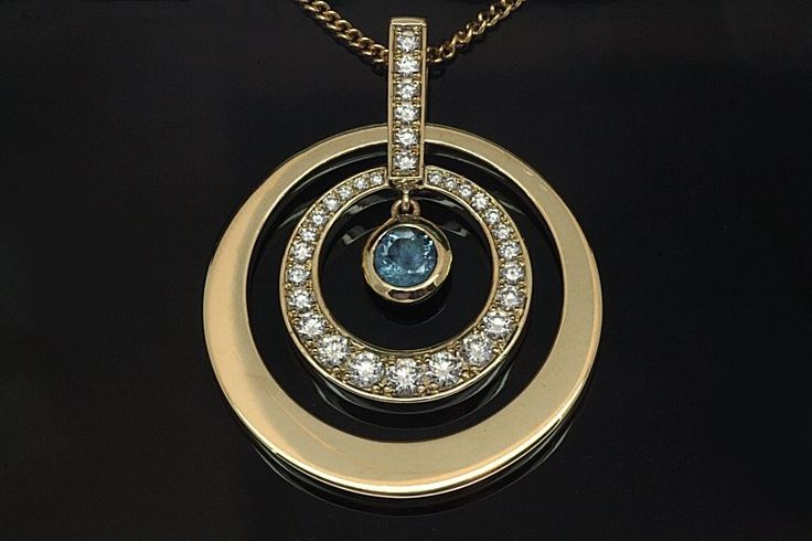 9ct. Yellow gold Aquamarine and Diamond Pendant. All handset.