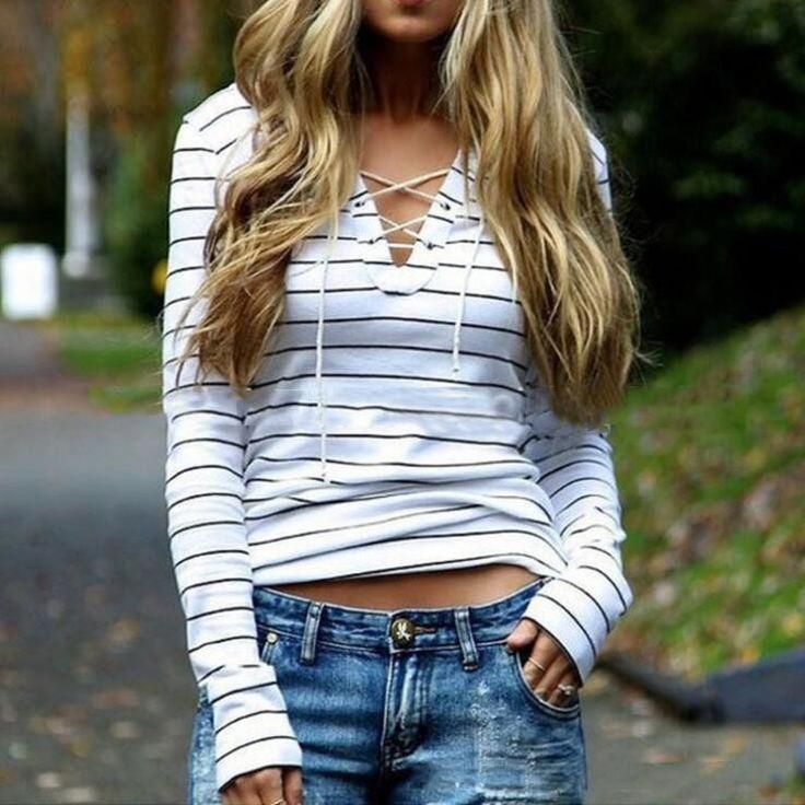 Cross Bandage Stripe Casual Shirt Blouse Tops – omei.co