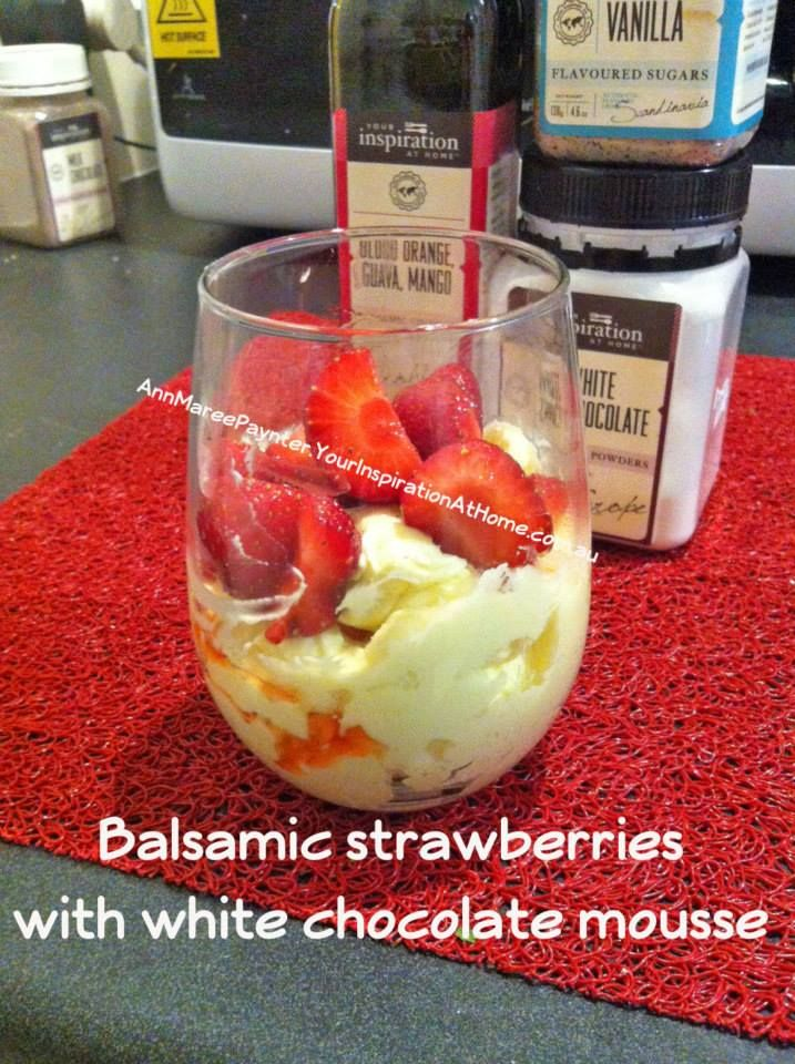 SUPER EASY CHOCOLATE MOUSSE!! This is delicious and only two ingredients: 300ml whipping cream and 1-2tbs YIAH white chocolate powder! Served here with strawberries soaked in YIAH OMG (blood orange mango and guava) balsamic vinegar and YIAH vanilla sugar. #chocolate #dessert #strawberries #entertaining www.annmareepaynter.yourinspirationathome.com.au