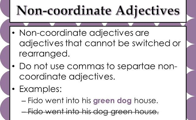 Definition Of Non Coordinate Adjective Coordinate Adjectives