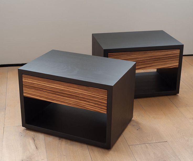zebrano cube bedside table