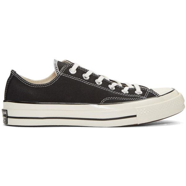 Converse Black Chuck Taylor All Star 1970s Sneakers ($61) ❤ liked on Polyvore featuring men's fashion, men's shoes, men's sneakers, black, mens lace up shoes, mens rubber shoes, mens canvas sneakers, converse mens shoes and converse mens sneakers