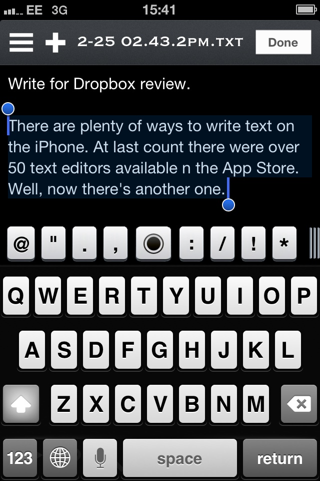 Great new text editor for the iPhone, Write For Dropbox. Read the review in Swipe issue 14.