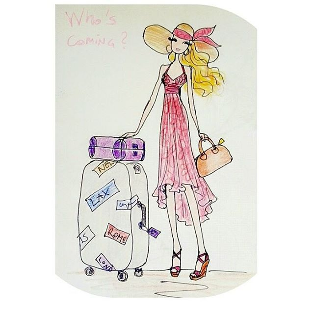 """""""Who's coming?"""" #drawing #ilovedrawing #sketching #ilovesketching #doodle #doodling #fumetto #fumetti #girlwithsuitcase #vacation #summerholidays #travelling #travelnotebook  #sketchbook #draw #disegno #disegnare #arte #art #creatività #creativity #creativelife #creativeday #craftlife #crafttime #paperlove"""