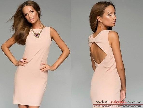Красивое вечернее платье с открытой спиной своими руками. Фото №4