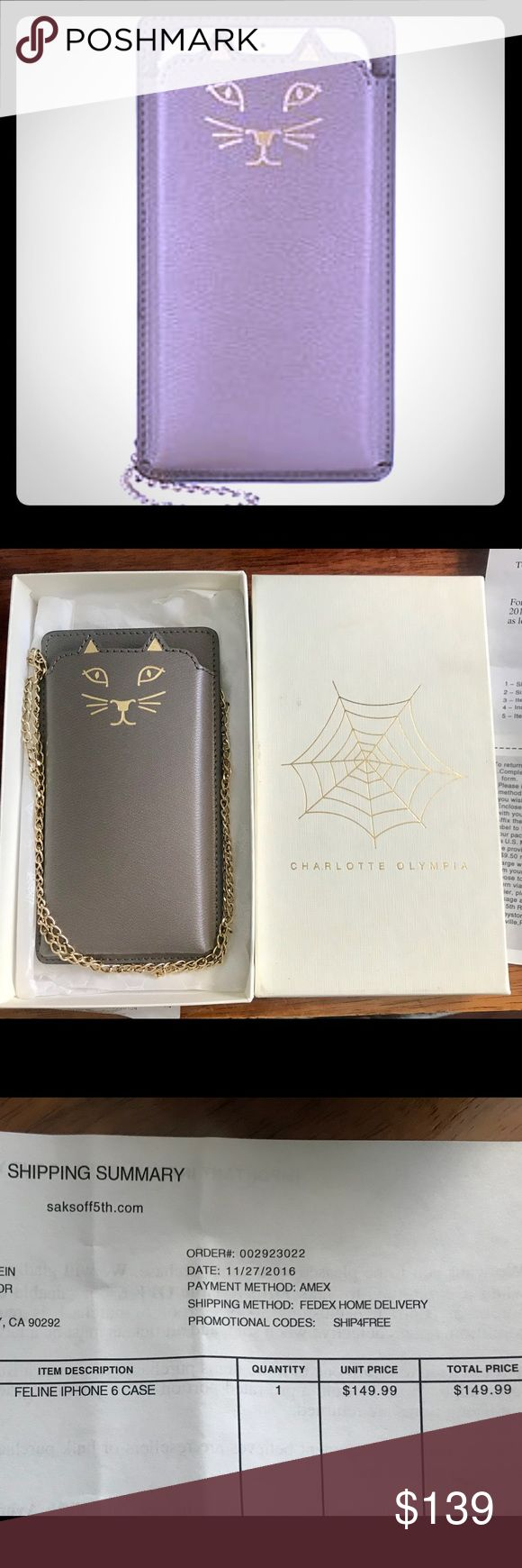 """CHARLOTTE OLYMPIA Feline IPhone 6 Leather IPhone 6 case with metallic cat prints, Removable chain shoulder strap 21"""" drop ,Leather lining 3.25""""W 6"""" H 0.5""""D Leather made in ITALY.New with box and receipts for authenticity. Perfect Holliday gift 🎁 Charlotte Olympia Accessories Phone Cases"""