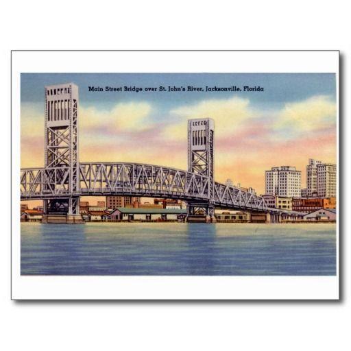 Vintage Jacksonville Florida Postcard Bridge