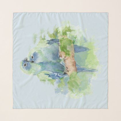 Romantic Cuddling Watercolor Blue Tropical Parrot Scarf - watercolor gifts style unique ideas diy