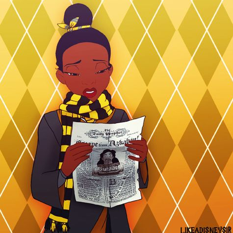 Tiana - Hufflepuff I love that she's a Puff! Puffs are known for working hard and being extremely loyal, and Tiana is both! Even though I'm a Ravenclaw, I have high respect for Hufflepuffs. They don't get enough credit.