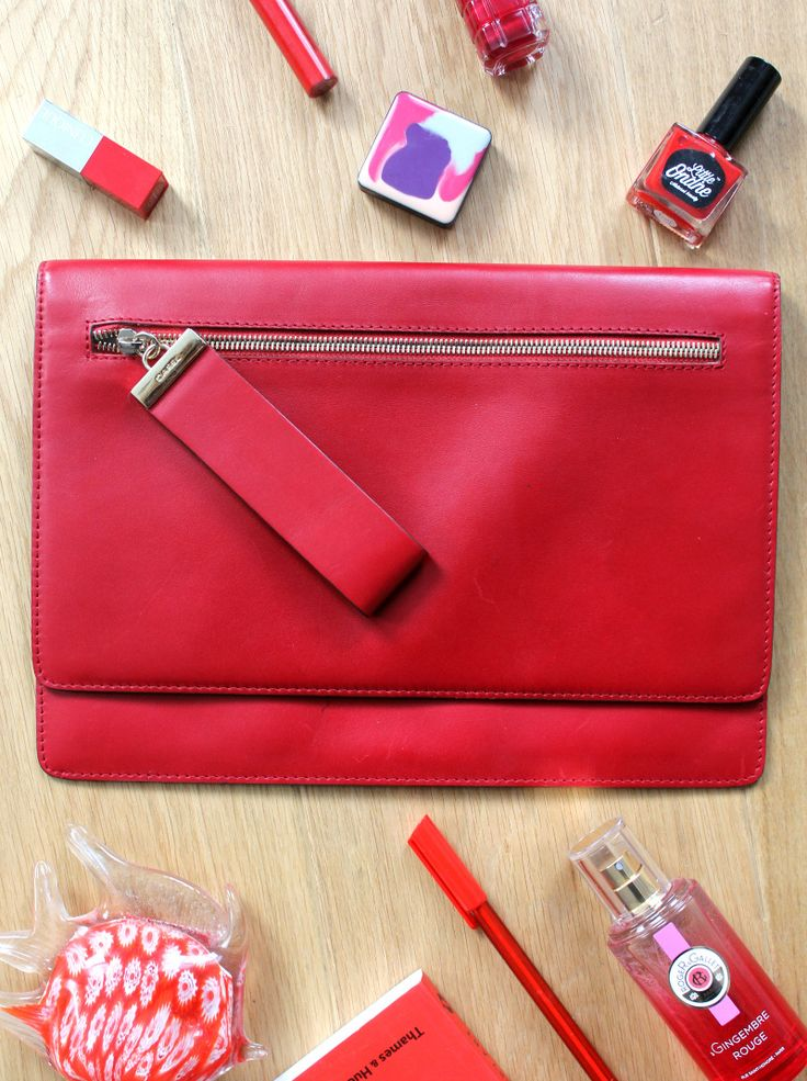 5 Popular Purse Brands That You Need to Know About - Gerard Darel Red Clutch Bag Flatlay