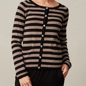 AIDA cardigan with stripes, black/beige melange stripes. A classic cardigan with 20mm wide stripes. Made by the softest sustainable eco Italian wool. Original Liberty fabric is used for details in the neck and on the buttons.