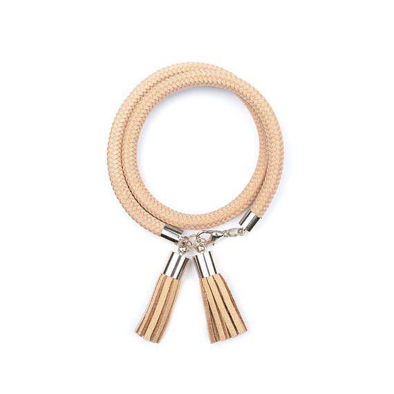 Beige Rope Bracelet. Rope Jewelry. Tassel Jewelry. by casseljewelry #fashion #handmadejewelry #handmade #jewelry #unique #design #casseljewelry #fashionjewelry #jewelrydesign #etsy #ShopEtsy #EtsyFinds #EtsyForAll