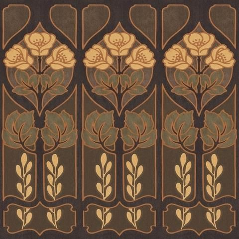 Gothic Flower Wallpaper Border - BC1583546 from Design by Color/Brown book