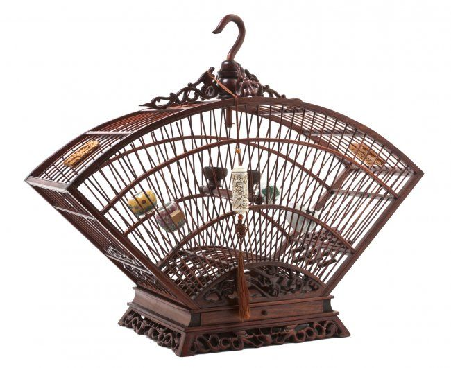 A Chinese Bamboo Birdcage, Width at widest 21 1/4 :