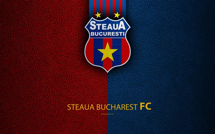 Download wallpapers FC Steaua Bucharest, logo, leather texture, 4k, Romanian football club, Liga I, First League, Bucharest, Romania, football, FCSB