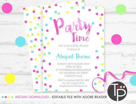 Confetti Party Invitation, Instant Download INVITATION, Pink Confetti Invitation, Confetti Printable, DIY, Edit text with Adobe Reader