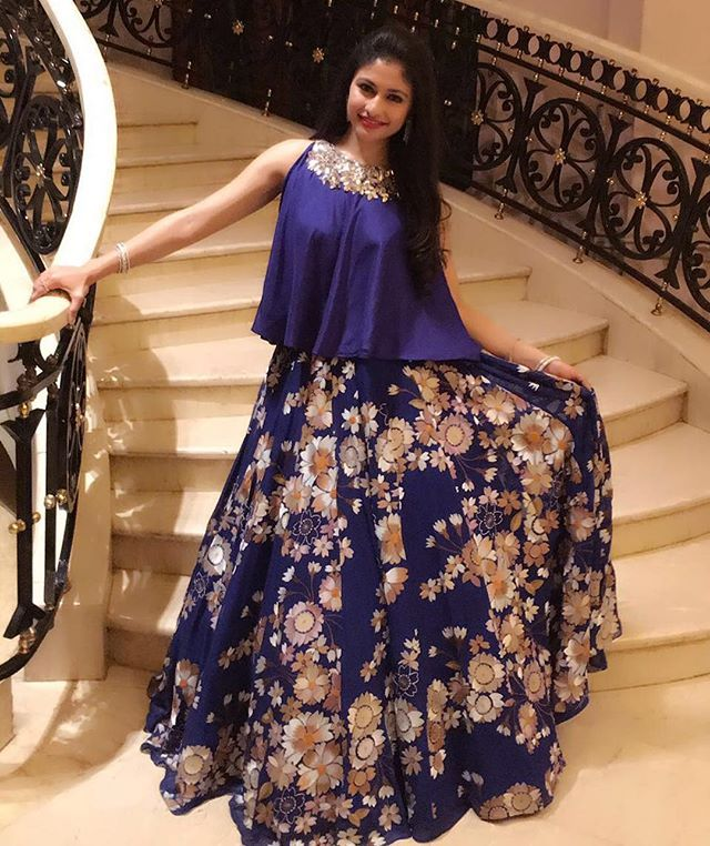 Our very own, @devanginishar looked absolutely gorgeous in this royal blue floral printed lehenga by @manishmalhotra05 Shop this look at azafashions.com #sneakpeak #manishmalhotra #lehengas #florals #wedding #occasionwear #style #indianfashion #trending #azadesigners #azafashions
