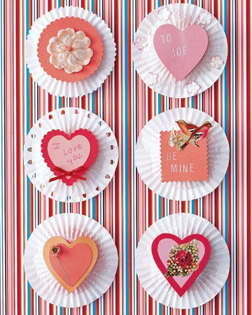 Cupcake-Liner Valentines        Fill flattened cupcake liners with candy and let kids distribute to their friends. The liners' pleats nicely frame scrap-art pictures or paper hearts (we used scalloping scissors to trim some). A craft punch or paper flowers can make cute borders.