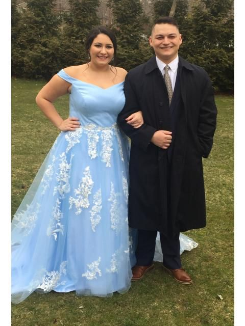 e10c1164eaa3 ... Brush Train Ball Gown Off-the-Shoulder Tulle Blue Prom Dresses.  #HebeosReview I ordered from this site for the first time for my daughters  Military Ball