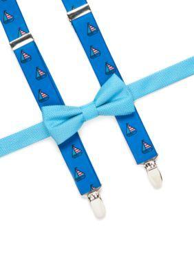 J. Khaki Aqua Solid Bowtie and Sailboat Print Suspender Set