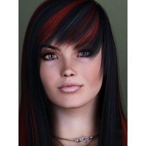 black hair with red highlights - Google Search