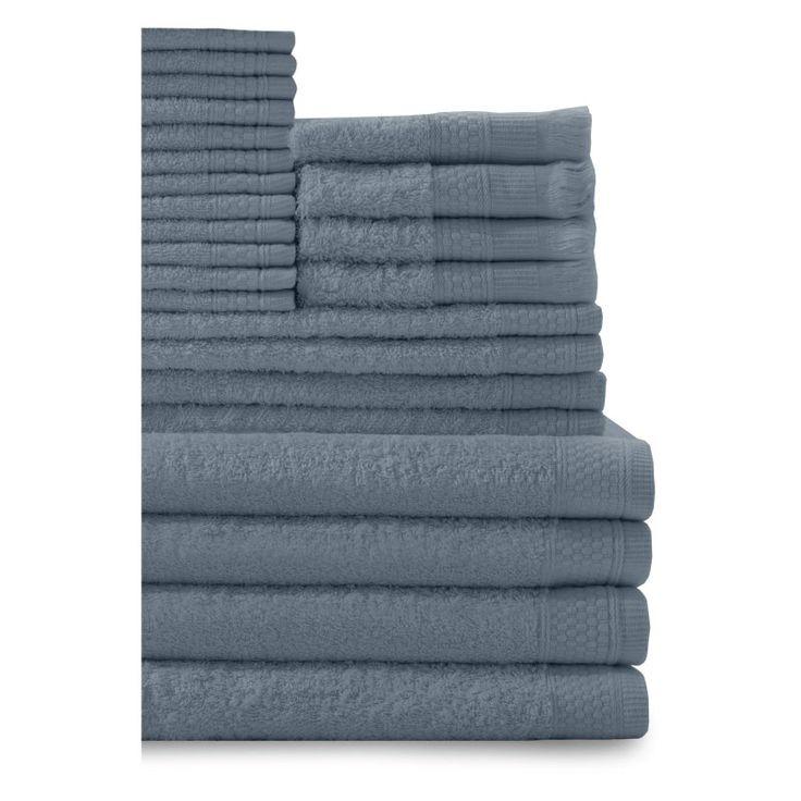 Baltic Linen Company 24 Piece Multi Count Complete Cotton Towel Set Smoke Blue - 353624300