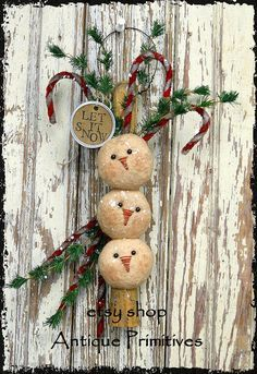 Handmade Primitive Snowmen & Candy Canes On Old Vintage Ice
