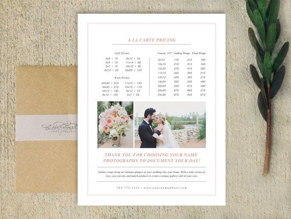 Pricing Guide Template for Photographers - Magazine Style Price - wedding price list