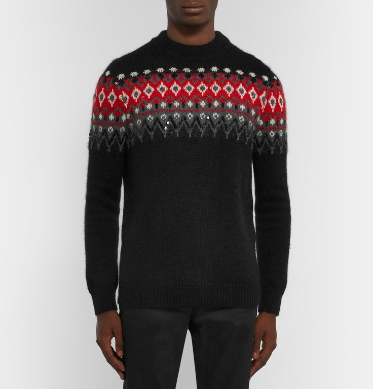 Fair Isle sweaters are steeped in history – they're named after the island off the north of Scotland where they were traditionally knitted by the wives of fishermen more than a hundred years ago. Spun with touches of mohair and wool for softness, <a href='http://www.mrporter.com/mens/Designers/Saint_Laurent'>Saint Laurent</a>'s version is spruced-up with scores of sequin embellishments that draw attention to the graphic intarsia p...