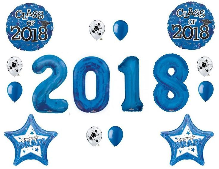 Details for Set of 3 Blue Class 2019 Balloons Decoration Graduation Party Mylar