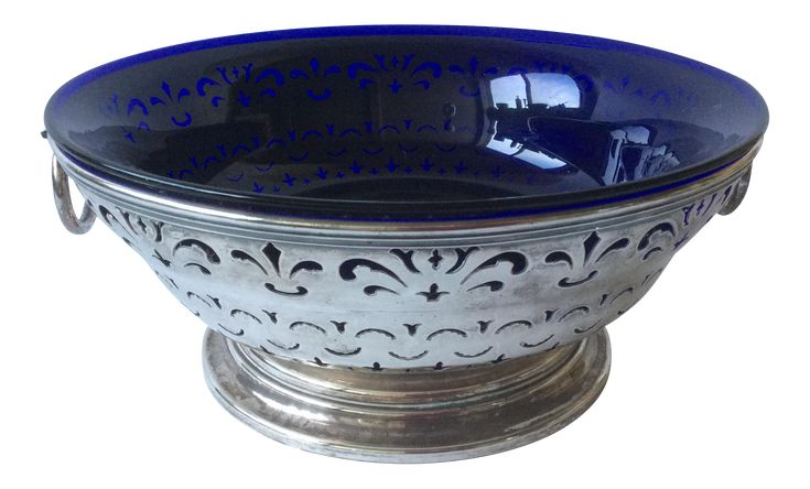 Antique Sheffield Silver and Cobalt Blue Bowl on Chairish.com