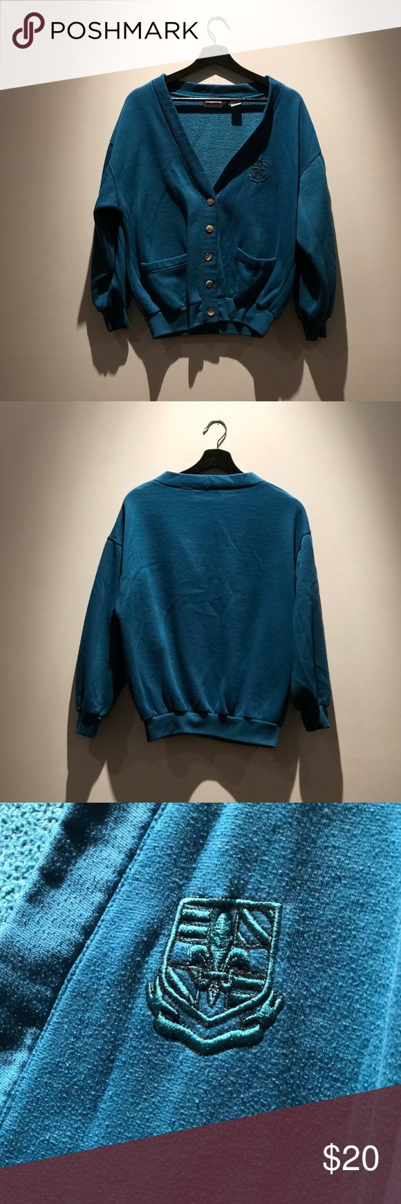 Ivy club classics teal embroidered sweater Ivy club classics teal embroidered sweater -85% polyester  -15% cotton -medium  -sleeves run short(but I also have long arms 😂) -loose fit Sweaters Cardigans