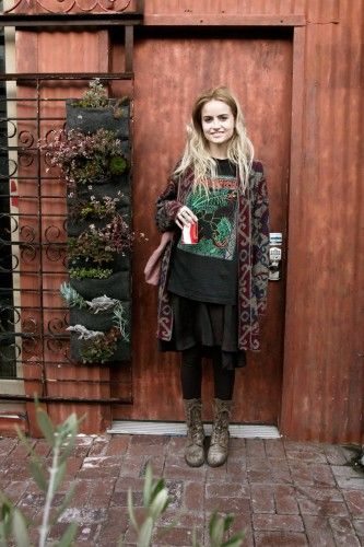 Timberland boots, AllSaints leggings, vintage sweater, H dress, thrifted shirt, and Dorothée Bis tote bag