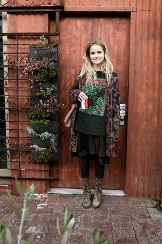 Timberland boots, AllSaints leggings, vintage sweater, H dress, thrifted shirt, and Dorothée Bis tote bag