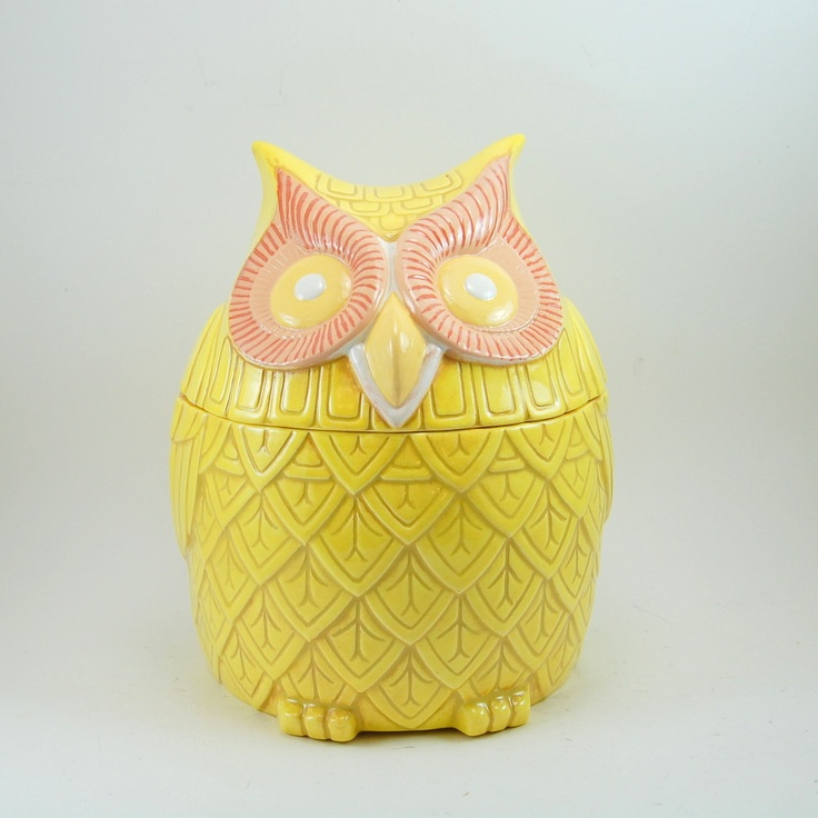 ON HOLD For KATIE   Yellow Owl Cookie Jar   Vintage Handmade Ceramic  Canister
