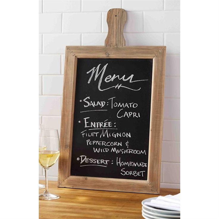 Chalkboard paddle frames feature natural pine wood border. Hang in entry-way to greet guests or use in kitchen to write notes, track to-do's or make grocery lists.