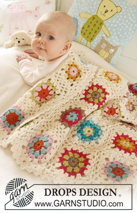 "Colorful crochet DROPS blanket in 2 strands ""Alpaca"". ~ DROPS Design"