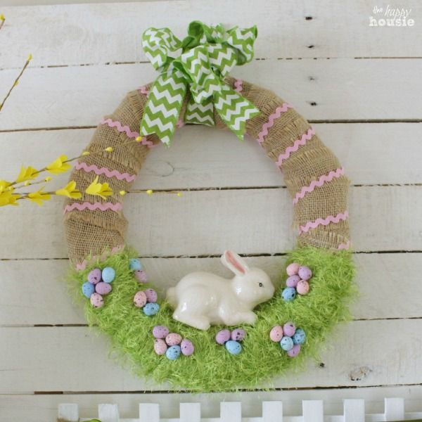 Easter Bunny in the Grass Wreath square at The Happy Housie