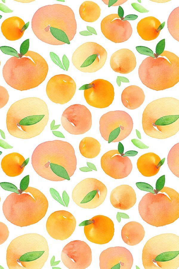 Hand painted watercolor peaches by dinaramay. Available in fabric, wallpaper, and gift wrap.