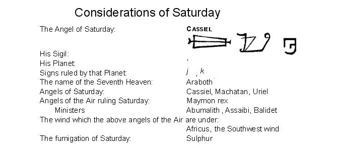 Arcangel Cassiel- Saturday