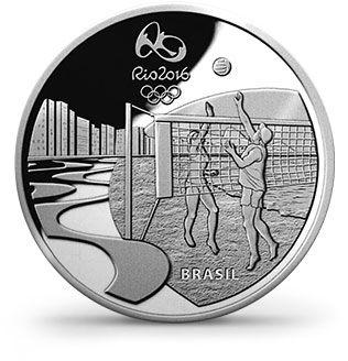 Moedas 5 Reais - Rio 2016 - Forró/Chorinho/Bossa Nova (verso Vôlei de praia em Copacabana)