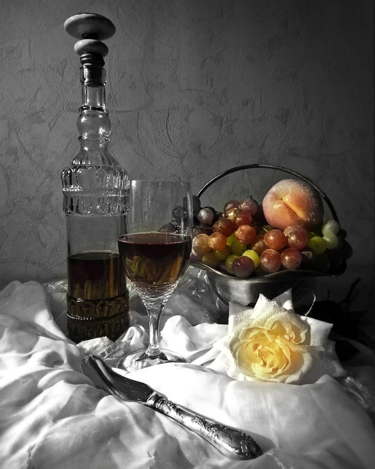 Wine and fruits Black and White with Color