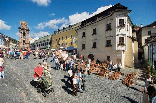 Slovakia Trojičné námestie square in Banská Štiavnica
